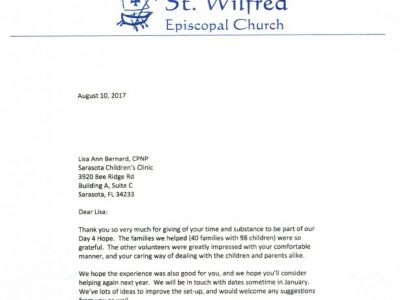 St Wilfreds letter of appreciation